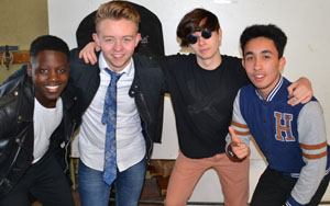 Joshua Olamajuwon as Fonzie, Niall Donal Malone as Chachi, Evan Duffy as Ralph and Edward Carraher as Richie 200